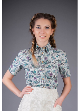 Блузка из льна Люси (огурцы)