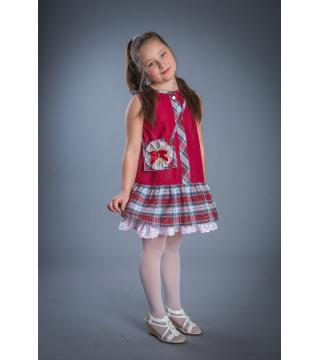 Платье из льна Алиса (красный, клетка)