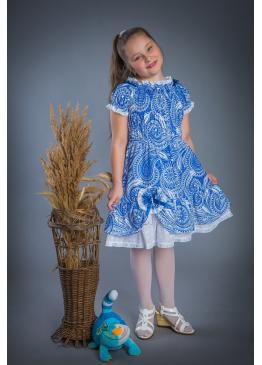 Платье из льна Мальвина (голубой)