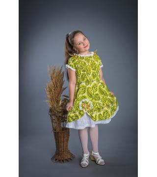 Платье из льна Мальвина (зеленый)