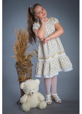 Платье из льна Полянка (горох)