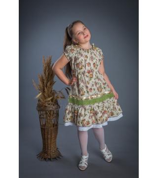 Платье из льна Полянка (крупный цветок)