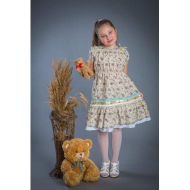 Платье из льна Полянка (мелкий цветок)