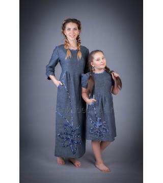 Платье из льна Резеда (синий)