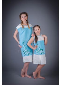 Платье из льна Ромашка детское (голубой)