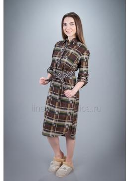 Платье домашнее из хлопка Дарина (коричневое)