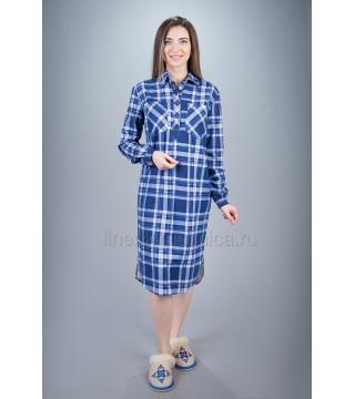 Платье домашнее из хлопка Дарина (синее)