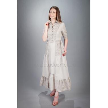Платье из льна Крестьянка (натуральный)