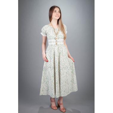 Платье из льна Букет (макси)