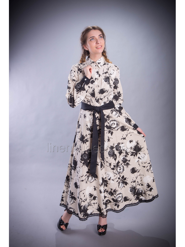 Платье из льна Прованс макси (Черные розы)