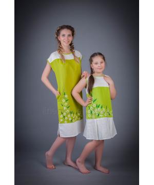 Платье из льна Ромашка (зеленый)