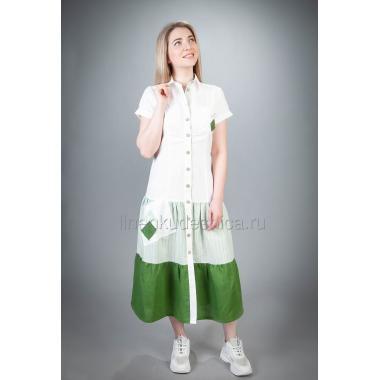 Платье из льна Контраст