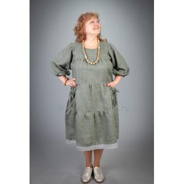 Платье из льна Славянка (хаки)