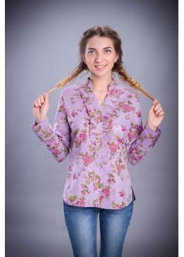 Рубашка из льна Голубка (сиреневый)
