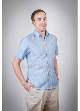 Рубашка из льна Лель (голубой)