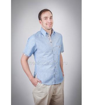 Рубашка из льна Лель (голубая в полоску)