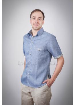 Рубашка из льна Лель (синий)