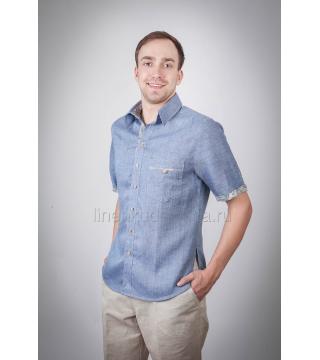 Рубашка из льна Лель (синяя)