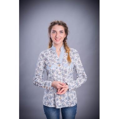 Рубашка из льна Мазурка (бело-голубой)