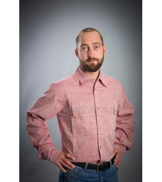Рубашка из льна Жокей (бордо)