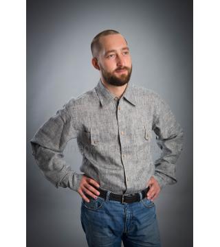 Рубашка из льна Жокей (темно-серый)