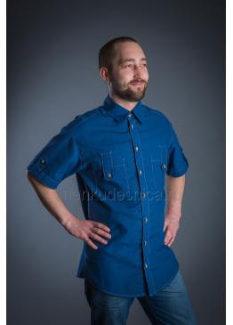 Рубашка из льна Казанова (синий)