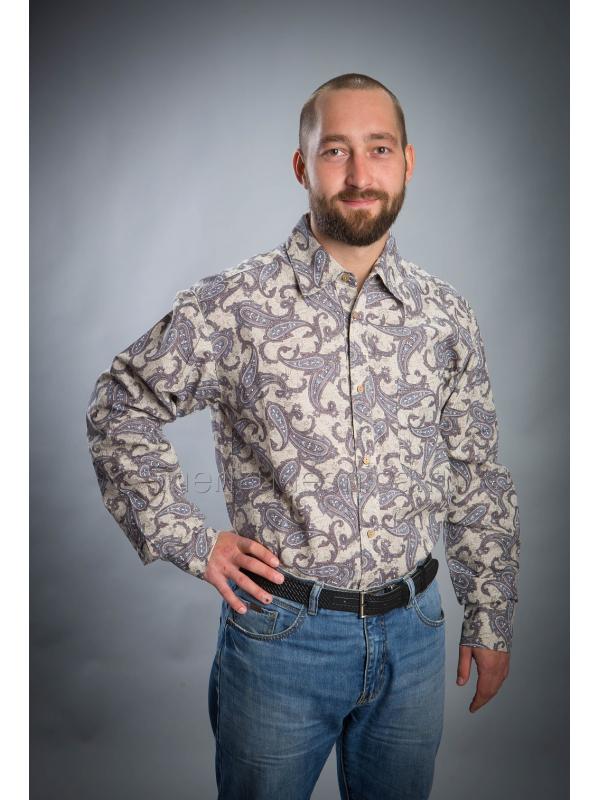 Рубашка из льна Мажор (в огурцах)