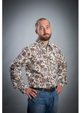 Рубашка из льна Мажор (цветы и птицы)
