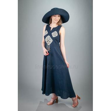 Платье из льна Ручеек (синий)
