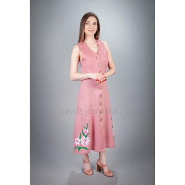 Сарафан из льна Лилейник (розовый)