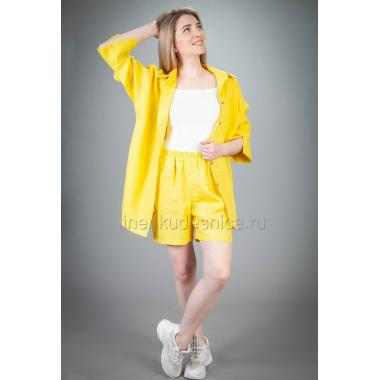 Костюм из льна Пляжный с шортами (желтый)