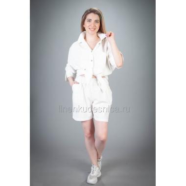 Костюм из льна Пляжный с шортами (белый)