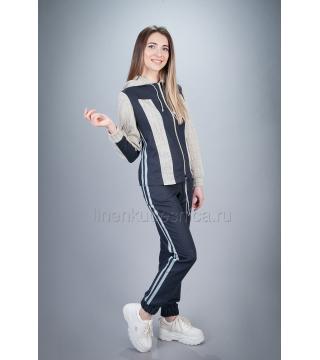 Спортивный костюм из льна Ленок (темно-серый)