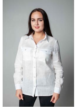 Рубашка из льна 21-01А Белый