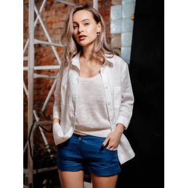 Рубашка из льна 21-03А (белая)