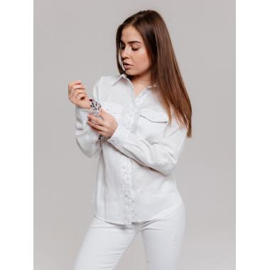 Рубашка из льна 21-01 Белый