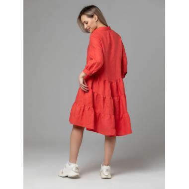 Платье из льна 14-25 Коралл