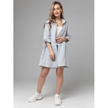 Платье из льна 14-26 Серо-голубое